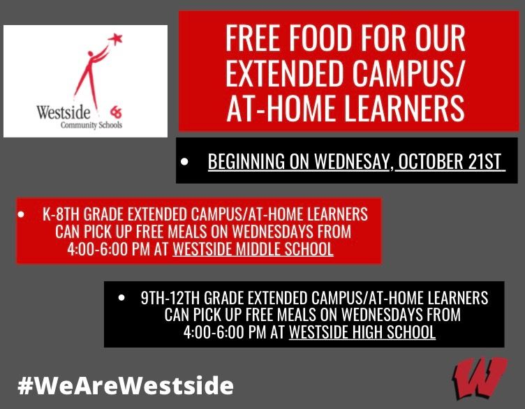 October 13, 2020 | Free Meal Pickup Set For Wednesdays For Extended Campus Learners