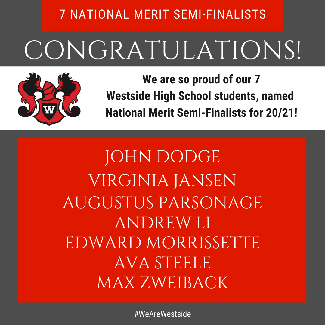 7 Westside students named National Merit Semi-Finalsits