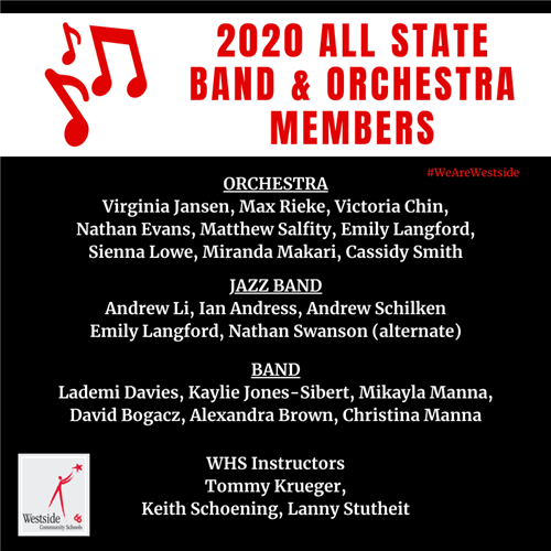 19 Westside Students Selected For All State Band and Orchestra
