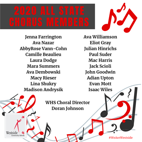 20 Westside High Students Selected For All State Chorus